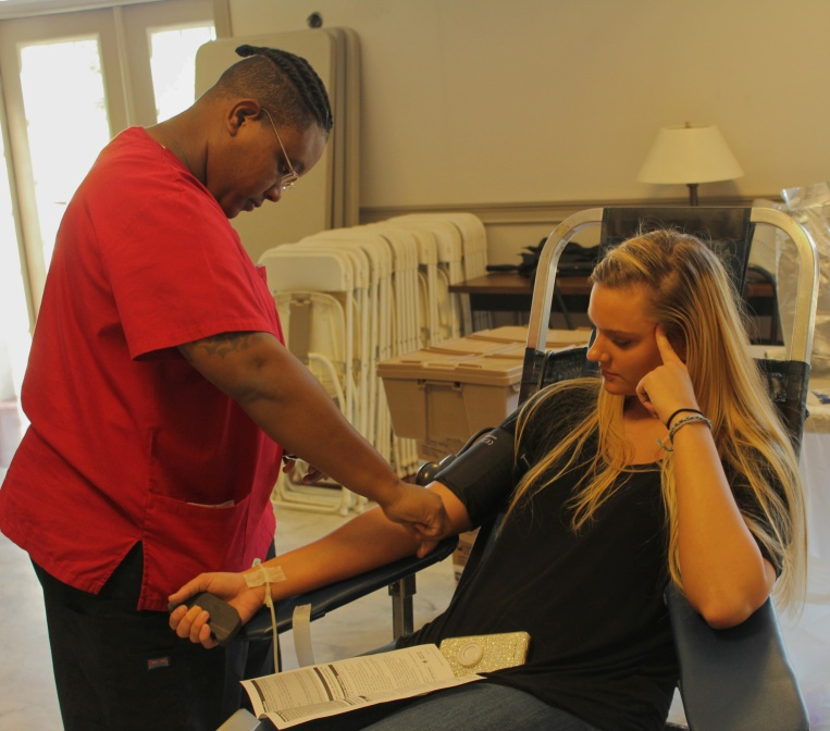 Piedmont College holds a blood drive in Neilson Hall to help save lives. Katelyn Durmire, Senior, and Nursing major at Piedmont College, donates blood to help those who are in need.