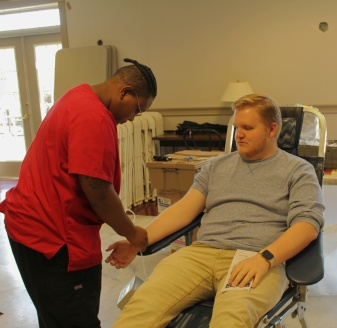 Piedmont College holds a blood drive to help save lives for those in need. Chance Passmore, Senior, Vocal Performance major at Piedmont College donates blood to help people who are in need.