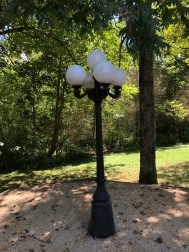 A light fixture across the street from the Arrendale Library at Piedmont College