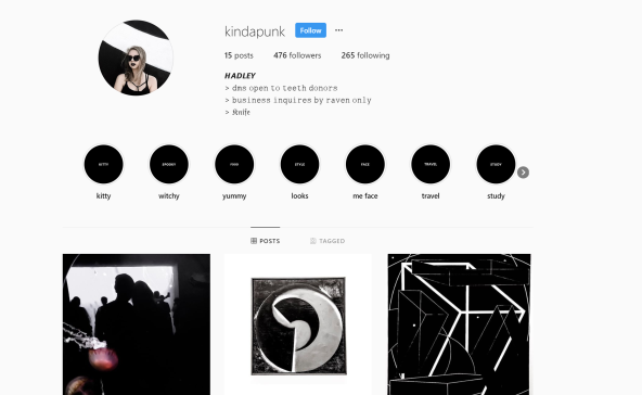 This is my Instagram, which basically my goth blog.
