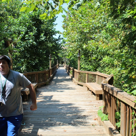 Senior John Jack Edmund Sassano running on Swanson bridge. PHOTO: Nate Roys