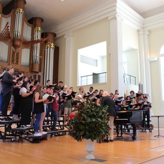 Piedmont Singers practicing in the chapel. PHOTO: Garrett Stafford